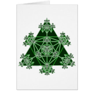 Sacred Geometry: Green Triangles: Greeting Cards