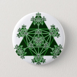 Sacred Geometry: Green Triangles: Pinback Button