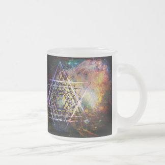 Sacred geometry hexagram frosted glass coffee mug
