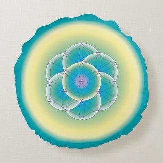 Sacred Geometry Meditation Teal Yellow Pillow