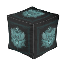 Sacred Geometry Owl Poof Teal Pouf