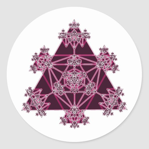 Sacred Geometry: Pink Triangles: Classic Round Sticker