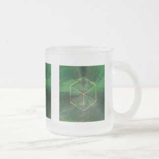 Sacred geometry platonic cube art frosted glass coffee mug