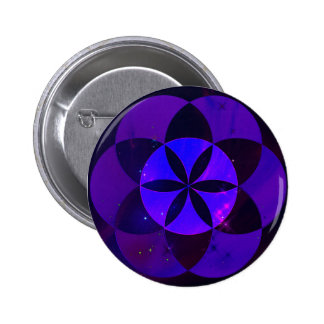 Sacred Geometry Seed of Life Pattern Space Scenery Pinback Button