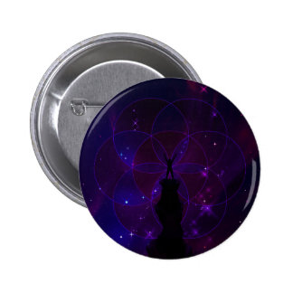 Sacred Geometry Seed of Life Violet Space Scenery Pinback Button