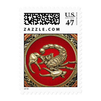 Sacred Golden Scorpion on Red Stamp