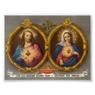 Sacred Harts of Jesus and Mary Poster