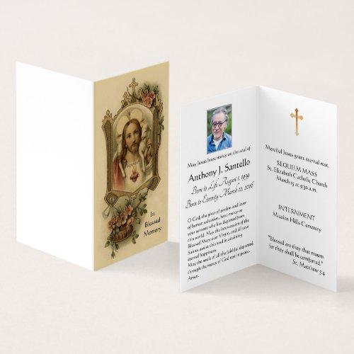 Sacred Heart Catholic Funeral Holy Card