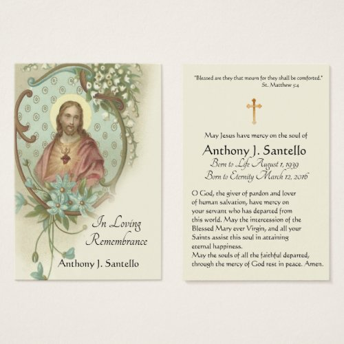Sacred Heart Catholic Funeral Memorial Holy Card _