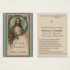 Sacred Heart Catholic Funeral Memorial Holy Card -