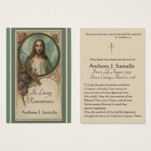 Catholic business cards templates zazzle sacred heart catholic funeral memorial holy card colourmoves