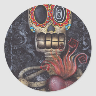 Sacred Heart Day of the Dead Classic Round Sticker