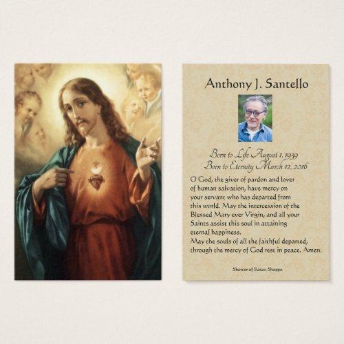 Sacred Heart Funeral Memorial Prayer Holy Card