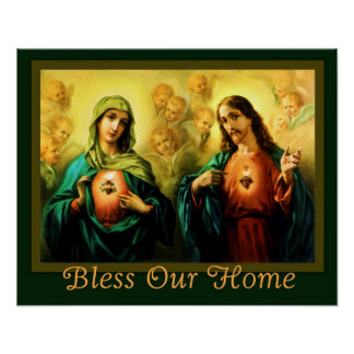 Sacred Heart & Immaculate Heart Home Blessing Poster