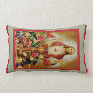 Sacred Heart Jesus Chalice Roses Rosary Pillow