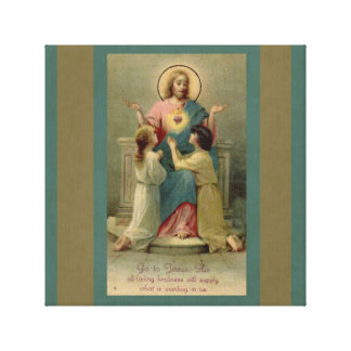 Sacred Heart Jesus children kneeling at His Feet Canvas Print