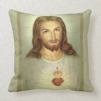 Sacred Heart Jesus Consecration Cross Flame Throw Pillow