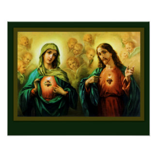 Sacred Heart Jesus & Immaculate Heart of Mary Poster