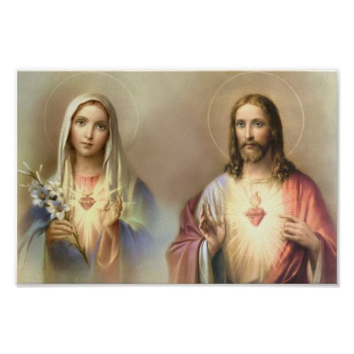 Sacred Heart Jesus Immaculate Mary Religious Poster