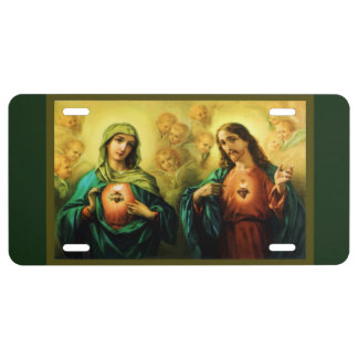 Sacred Heart Jesus Immaculate Metal License Plate