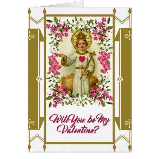 Sacred Heart Jesus Valentine Flowers Gold Border Card