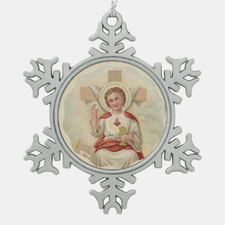 Sacred Heart of Child Jesus Cross Host Chalice Snowflake Pewter Christmas Ornament