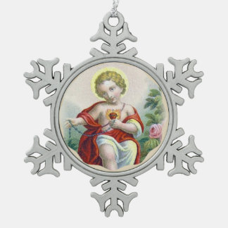 Sacred Heart of Child Jesus Holding a Rosary Snowflake Pewter Christmas Ornament
