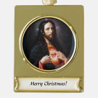 Sacred Heart of Christ Gold Plated Banner Ornament
