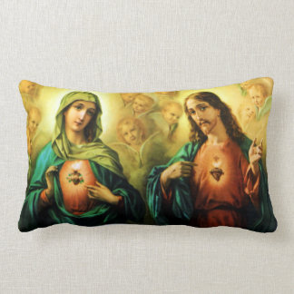 Sacred Heart of Jesus and Immaculate Heart of Mary Lumbar Pillow