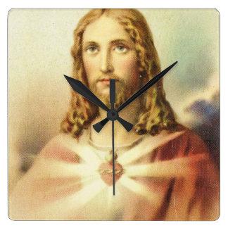 Sacred heart of Jesus Square Wall Clocks