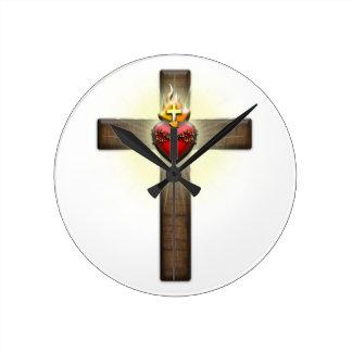 Sacred Heart of Jesus Cross Wall Clock