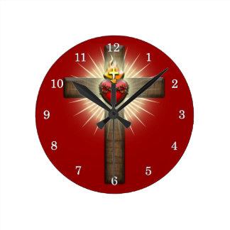 Sacred Heart of Jesus Cross Clock