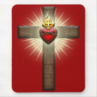 Sacred Heart of Jesus Cross Mouse Pad