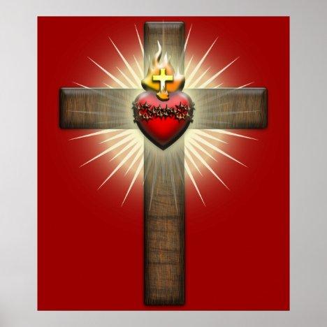 Sacred Heart of Jesus Cross Poster