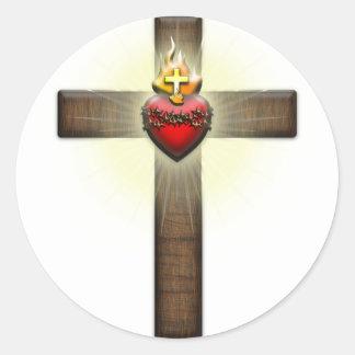 Sacred Heart of Jesus Cross Classic Round Sticker