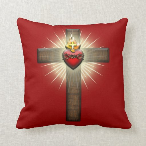 Decorative Pillows With Crosses : Sacred Heart of Jesus Cross Throw Pillow Zazzle