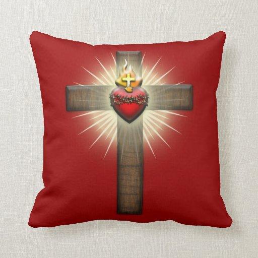 Sacred Heart of Jesus Cross Throw Pillow Zazzle