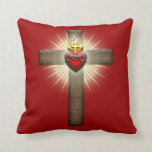 Sacred Heart of Jesus Cross Throw Pillow