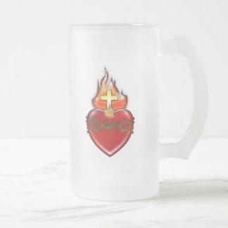 Sacred Heart of Jesus Frosted Glass Beer Mug