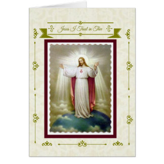 """Sacred Heart of Jesus """"I Trust in Thee"""" Card"""