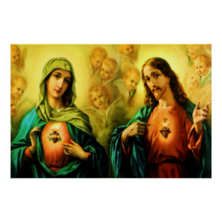 Sacred Heart of Jesus & Immaculate Heart of Mary Poster