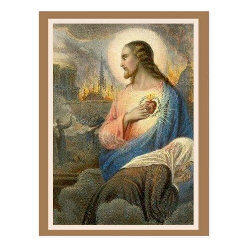 Sacred Heart of Jesus Notre Dame Religious Postcard