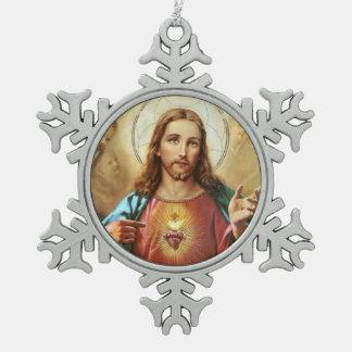 Sacred Heart of Jesus Snowflake Pewter Christmas Ornament