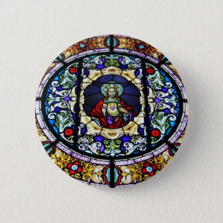 Sacred Heart of Jesus Stained Glass Window Button