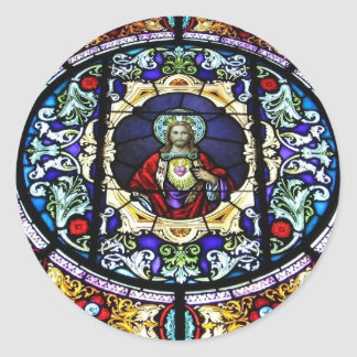 Sacred Heart of Jesus Stained Glass Window Classic Round Sticker