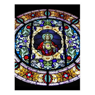 Sacred Heart of Jesus Stained Glass Window Postcard