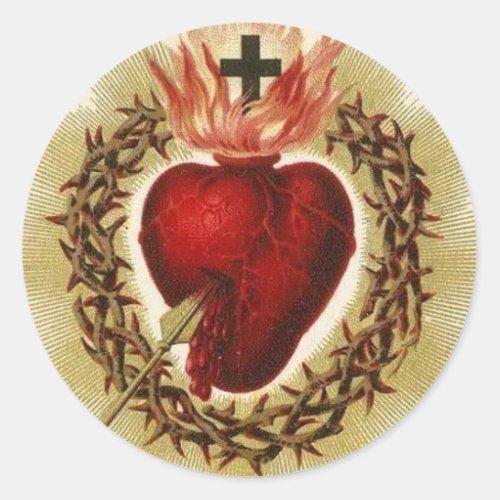 Sacred Heart of Jesus Vintage Catholic Religious Classic Round Sticker