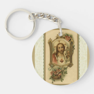 Sacred Heart of Jesus w/lamb on shoulder keychain