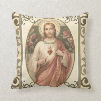 Sacred Heart of Jesus w/pink roses Throw Pillow