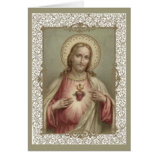 Sacred Heart of Jesus with decorative border Card